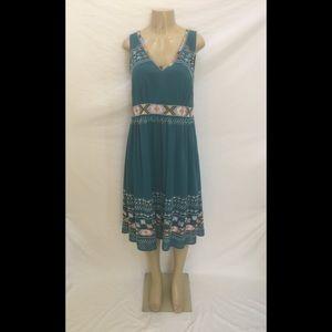 Sundance Sz 12 Blue Tribal Embroidered Midi Dress
